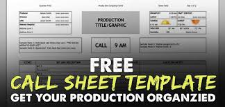Free Download Call Sheet Template The Only One Youll Ever Need
