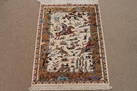 pictorial 2x3 hunting design qom silk persian rugs pure silk qum persian carpet with hunting