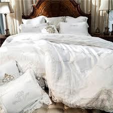 white embroidery cotton bedding sets luxury duvet cover set princess lace edge queen king size wedding bedclothes bed linen duvet comforter duvet sizes from