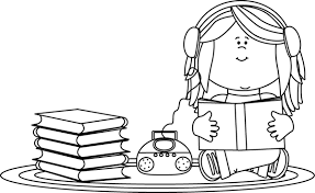 carpet clipart black and white. black and white girl listening to a book on cd player carpet clipart \