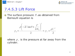 bernoulli equation lift. 62 lift force the surface pressure as obtained from bernoulli equation