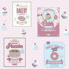 Coloroll Sugar Sweet Vintage Bakery Wallpaper A4 Advertising