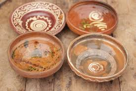 4 7 antique vintage rustic folky mid century stoneware hungarian decorative bowls 4