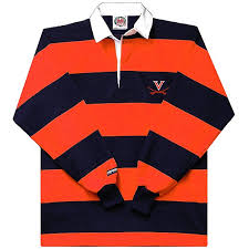 barbarian rugby shirt with orange navy stripes