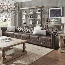 Knightsbridge Bonded Leather Oversize Extra Long Tufted Chesterfield Sofa  by iNSPIRE Q Artisan by iNSPIRE Q
