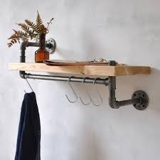 wooden wall shelf with industrial pipe hanging rail new york industrial pipe shelf