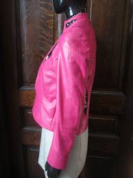 wjs1060 las hot pink leather motorcycle jacket with black sequin detailing