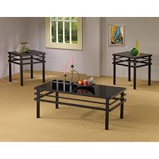 coaster furniture 3 piece glass top coffee table set black com