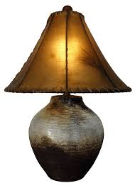 weird rawhide lamp shade clay pottery with round
