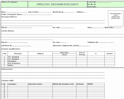 employee profile format employee profile template excel free human resources