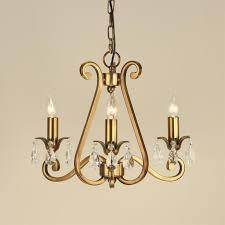 oksana 3 light chandelier in brass crystal modern classic small chandelier ul1p3b