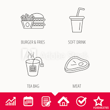 Tea Star Chart Hamburger Meat And Soft Drink Icons Tea Bag Linear Sign