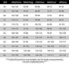 Sabelt Suit Size Chart Track Monkey Apparel