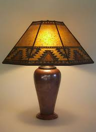 t225a large copper table lamp lightning border southwestern design mica lamp shade