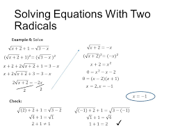 solving equations with two radicals