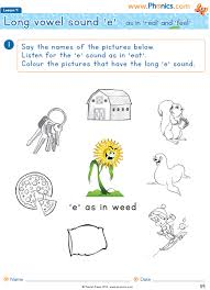 Multiple choice in these printable phonics worksheets, each picture has three words that describe it. Phonics Worksheets Lesson 4 Long Vowel E