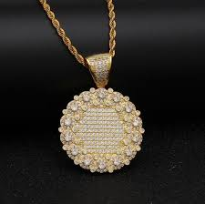 full micro paved iced cubic zirconia round flower tag necklace for men women charm silver gold color pendant hiphop jewelry