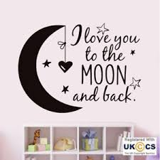 image is loading love moon back nursery kids boys girl bedroom  on love you to the moon and back wall art uk with love moon back nursery kids boys girl bedroom wall art stickers