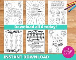 Children's coloring pages for boys and girls. Kindness Coloring Pages Instant Download Affirmations For Kids Teaching Resources Inspirational Quotes Coloring For Kids Learning Tools By Indigo Ink Boutique Catch My Party
