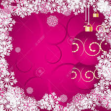 Pink Christmas Card Christmas Card With Snowflakes Baubles And Curls On Pink Background
