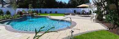 Patio with pool Brick It Begins With Landscape Design Developing Pool Patio Meaningful Use Home Designs Freeflowing Pool Patio With Lush Plantings Autumn Leaf