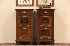 Antique Night Stands Sold Pair Of 1895 Antique Oak Barber Shop Cabinets End Tables