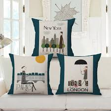 new york paris london cushion covers scenery pillow cover linen cotton sofa pillow case bedroom sofa decoration wicker patio furniture cushions replacement