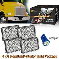 Kenworth T800 Interior Lights Amazon Com 24pcs 4x6 Sealed Beam Rectangular Led