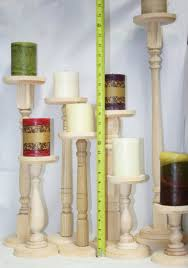 extra tall unfinished wood pillar candlestick holders diy wedding accents tall candlestick holders