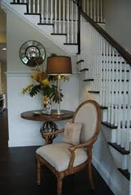 entry foyer furniture. Living Room : Simple Open Entryway With Wooden Varnished Single Chair White Leather Saddle Also L Shaped Indoor Staircase And Entry Foyer Furniture