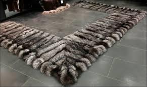 368 saga silver fox fur bedside rug natural real fur rug