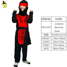 Ninja Suit Size Chart Details About Red Dragon Ninja Costume Carnival Party Japan Assassin Cosplay Set For Kid Boys
