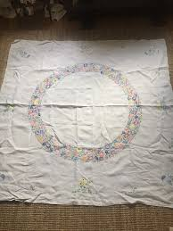 vintage hand embroidered linen tablecloth embroidery tablecloth kits uk