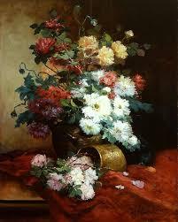 eugene henri cauchois roses and dahlias