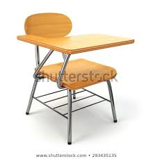 Wooden school desk and chair Arm Desk Wooden School Desk And Chair Isolated On White 3d Shutterstock Wooden School Desk Chair Isolated On Stock Illustration Royalty