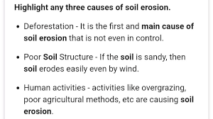 what are the three causes of soil erosion