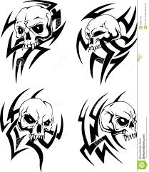 племенные татуировки черепа иллюстрация вектора иллюстрации