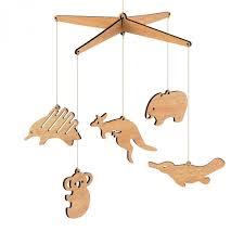 wooden australian animal nursery baby mobile tasmanian oak flat pack kangaroo koala platypus wombat echidna by byrne woodware for