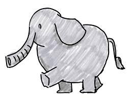 元気な象 動物 フリー素材 漫画風イラスト 画像