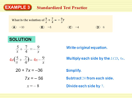 example 3 standardized test practice solution 5 x 7 4 9