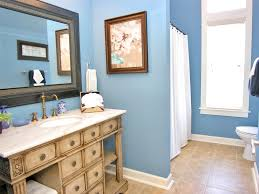 White Stained Wooden Built In Shelves Blue Green Bathroom Ideas