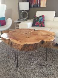 tree trunk table with metal legs wood coffee table with hairpin legs coffee