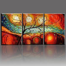 tree landscape oil paintings hand painted on canvas 3 piece modern abstract wall art dining room on wall art sets for dining room with tree landscape oil paintings hand painted on canvas 3 piece modern