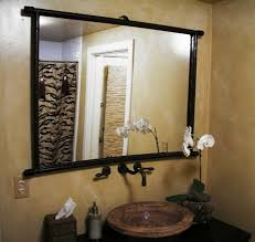 cottage bathroom mirror ideas. Black Granite Countertop Cottage Bathroom Mirror Ideas Double L Shaped Brown Finish Mahogany Cabinet