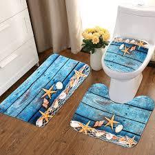 1 set bathroom non slip sandbeach pedestal rug lid toilet cover bath mat