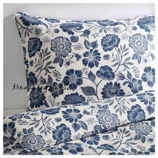 ikea king duvet linen quilt cover w 2 pillowcases angsort white blue sealed pkg