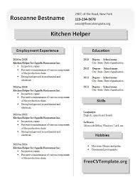 Resume Helper Free Kitchen Staff Get A Free Cv