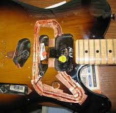 noise reduction for sc pickups telecaster and stratocaster routed to stay under the pickguard and clear the neck pickup the channel length has to match the coil length precisely the tele body wood is hard
