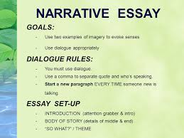 narrative writing what you write says something about you  narrative essay goals dialogue rules essay set up