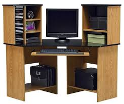 Oak Corner Computer Desk For Home With Large Storage Space